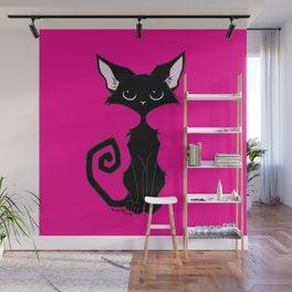 Black Cat - Hot Pink Wall Mural