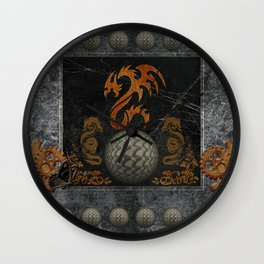Awesome tribal dragon made of metal Wall Clock
