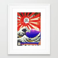 hokusai Framed Art Prints featuring COLLAGE: Hokusai by Diavu'