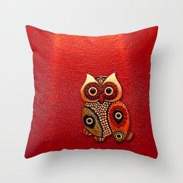 Retro Wood Owl Throw Pillow