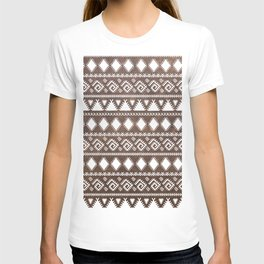 Vintage rustic brown leather white tribal pattern T-shirt