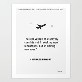The real voyage of discovery consists not in seeking new landscapes, but in having new eyes. Marcel Art Print