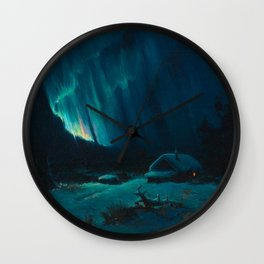 Northern Lights - Aurora Borealis Snowy Night Winter Scene by Sydney Lawrence Wall Clock