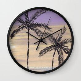 two palm trees euphoric sky Wall Clock