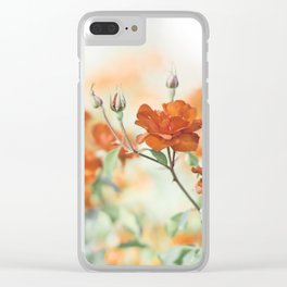 Orange Rose Flower Photography, Red Orange Roses, Burnt Orange Flowers Clear iPhone Case