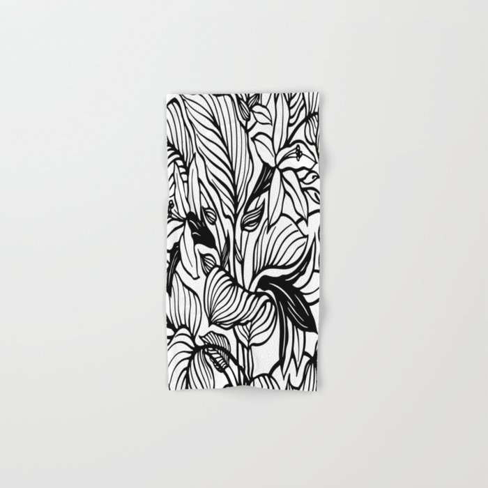 White Black Floral Minimalist Hand & Bath Towel
