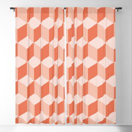 Diamond Repeating Pattern In Living Coral Blackout Curtain