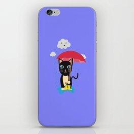 Cat in the rain with Umbrella iPhone Skin
