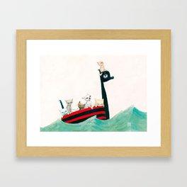The Kittens Go for a Sail Framed Art Print