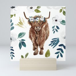 Highland Cow, Highland Cows with Flowers, Flower Crown, Floral Print, Watercolor Mini Art Print