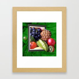 Modern Fruit Basket Still Life Framed Art Print
