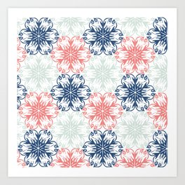 Floral in Aqua, Coral Red and Navy Blue Art Print