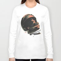 noir Long Sleeve T-shirts featuring Space Skull Noir by Alex DiMella