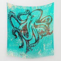 squid Wall Tapestries featuring Squid Blue by BlytheStarlight