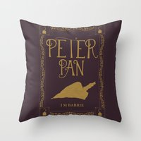 book cover Throw Pillows featuring Peter Pan Book Cover by Abbie Imagine