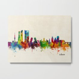 Madrid Skyline Cityscape Watercolor Metal Print