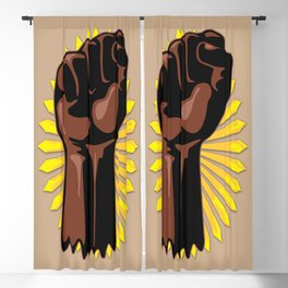 Black Power Raised Fists Blackout Curtain