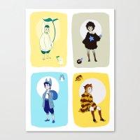 ghibli Canvas Prints featuring Ghibli Gijinkas by TEAM JUSTICE ink.