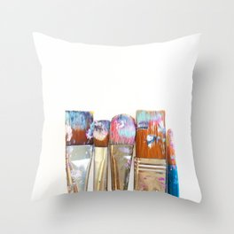 Five Paintbrushes Minimalist Photography Throw Pillow