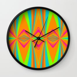 orange pink blue green symmetry art abstract background Wall Clock