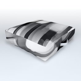 Racing City Lights - Black and White Outdoor Floor Cushion