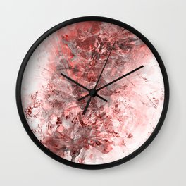 Red and White Floral Grunge Wall Clock