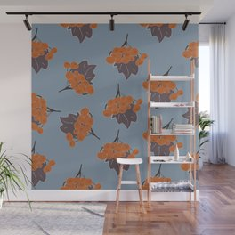 Seamless Pattern Of Rowan Spray, old traditional artistic style Wall Mural