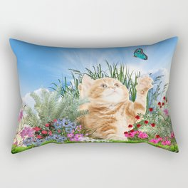 Ginger Kitten Playing with a Butterfly Rectangular Pillow