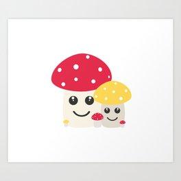 Cute colorful mushrooms Art Print