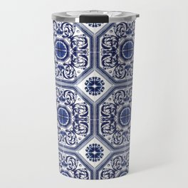 Portuguese Tiles Azulejos Blue and White Pattern Travel Mug