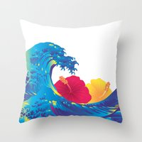 hokusai Throw Pillows featuring Hokusai Rainbow & Hibiscus_YR by FACTORIE