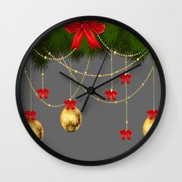 RED RIBBONS & GOLD  CHRISTMAS ORNAMENTS ART Wall Clock