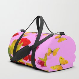 DECORATIVE YELLOW BUTTERFLIES, RED ROSES, DAFFODILS SPRING FLOWERS Duffle Bag