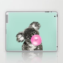 Playful Koala Bear with Bubble Gum in Green Laptop & iPad Skin