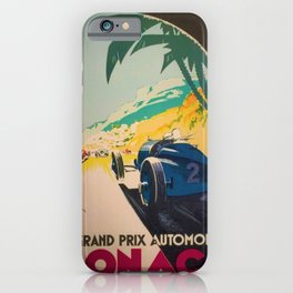 Vintage 1933 Monaco Grand Prix Car Advertisement Poster by Geo Ham iPhone Case