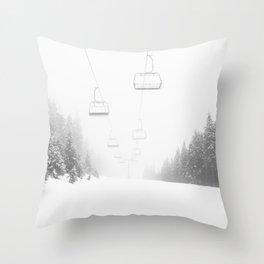 Ski Lift Poster Throw Pillow