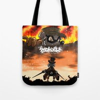 attack on titan Tote Bags featuring A Quack on Titan by ADobson