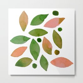 Leaves and berries watercolour Metal Print