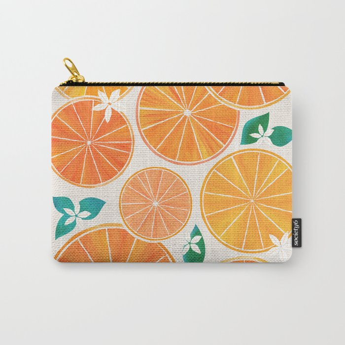 Orange Slices With Blossoms Carry-All Pouch