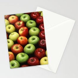 Red and Green Apples Displayed In A Pattern Stationery Cards