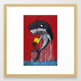 Seal Dragon Punching Shark Framed Art Print