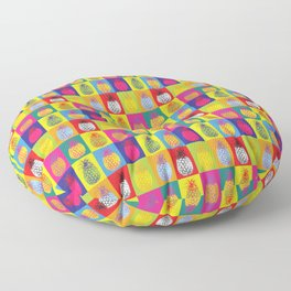 Modern Pop Art Pineapple Fruit on Colourful Squares Floor Pillow