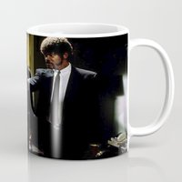 pulp fiction Mugs featuring Pulp Fiction by Susan Lewis