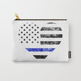 Thin Blue Line Police Officer LEO USA America Flag Heart Gift Cop Sherrif Blue Lives Matter Carry-All Pouch