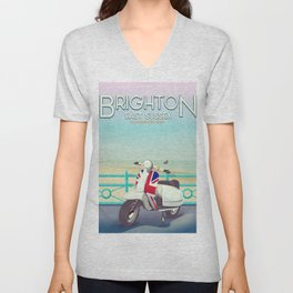 Brighton Union Scooter travel poster, Unisex V-Neck