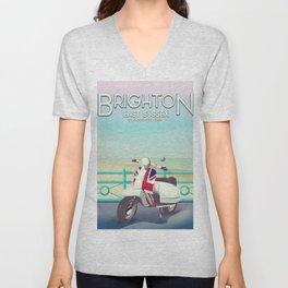 Brighton Union Scooter travel poster, Unisex V-Neck