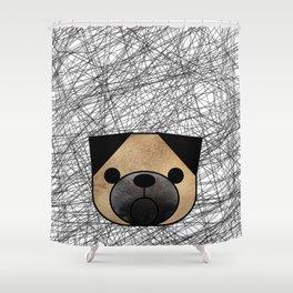 Furry Pug Dog Shower Curtain