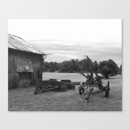 Farm Equipment Out by the Barn Canvas Print