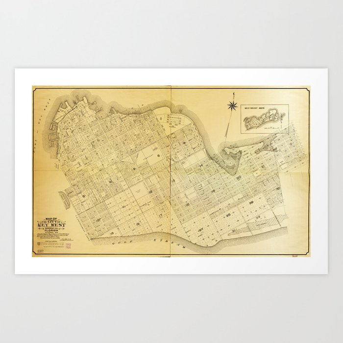 graphic regarding Printable Map of Key West referred to as Map of Primary West, Florida (1906) Artwork Print by way of thearts