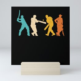 Retro Cricket Player Vintage Cricketer Sport Lover Mini Art Print